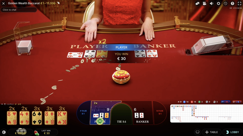 Golden Wealth Baccarat outcome